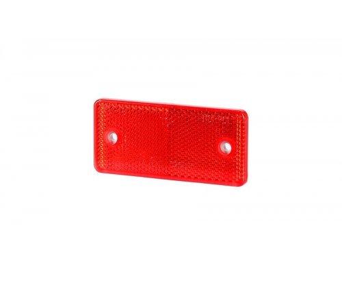5028 UO 028 Рефлектор-відбивач прямокутний(44х94 мм) з отворами на шурупах червоний