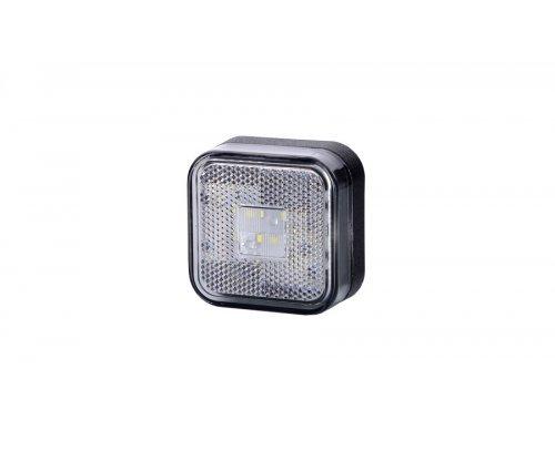 Габаритно-контурний ліхтар LED квадратний з відбивачем білий LD 096