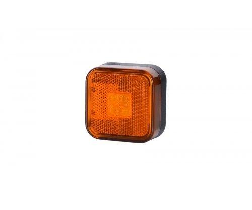 Габаритно-контурный фонарь LED квадратный с отражателем оранжевый LD 097