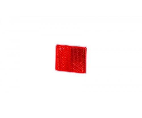 Рефлектор-отражатель квадратный(38х47мм) с самоклеющейся лентой красный UO 236