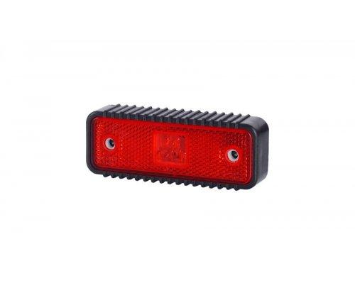 Габаритно-контурний ліхтар HOR 55 LED рильєфний широкий корпус з відбивачем червоний LD 539